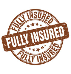 Fully insured brown grunge stamp vector