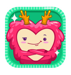 funny app icon with red fluffy monster vector image