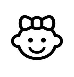Girl baface icon logo vector
