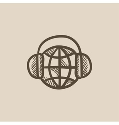 Globe in headphones sketch icon vector