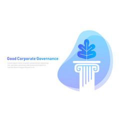 Good corporate governance leaf on pillar symbol vector