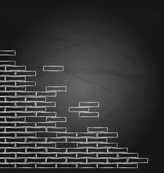 Graphic brick wall drawn in the engraving vector