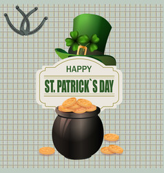 Green hat two-leaf clover and horseshoe iron pot vector