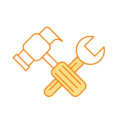 hammer and wrench icon vector image
