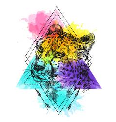 hand-drawn cheetah vector image