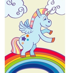 Hand drawn unicorn rainbow vector