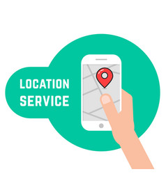 Hand holding phone like location service vector