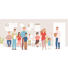 happy cartoon patients in doctor waiting room vector image