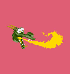Head of cartoon dragon with fire from his mouse vector