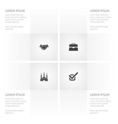 Icon job set of done fabric portfolio and other vector