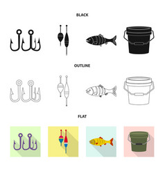 isolated object of fish and fishing symbol set of vector image