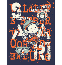 Kids discovery team jungle safari adventure vector