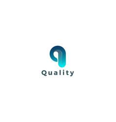 Letter q 3d blue colour creative quality logo vector