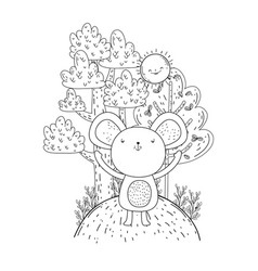 little mouse with sun kawaii in the landscape vector image