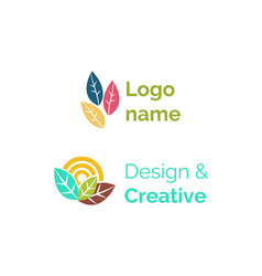logo name design and creative logotypes flat set vector image