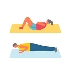 Man and woman performing exercises on mat vector