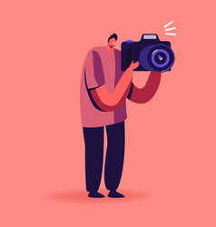 Man photographer with photo camera make picture vector