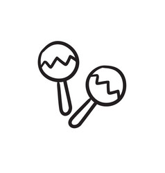 Maracas sketch icon vector