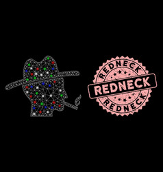 Mesh smoking redneck with flash spots and redneck vector