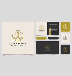 minimalist line abstract lighthouse logo design vector image