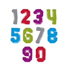 Modern watercolor vivid brushed numbers set vector