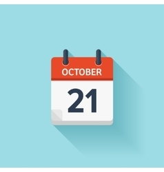 October 21 flat daily calendar icon Date vector image