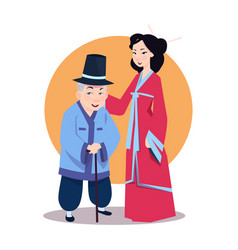 old asian man with young woman in japanese kimono vector image