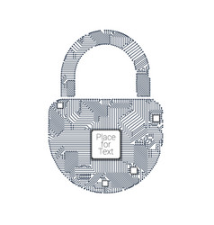 padlock circuit on white vector image