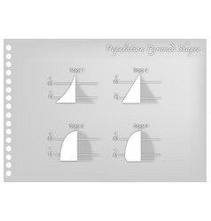 paper art of four stages of population pyramids vector image