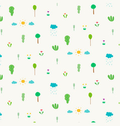 pattern with abstract cute tree design elements vector image