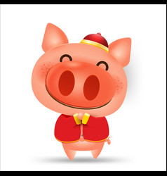 Pig cartoon isolated elements for artwork happy vector