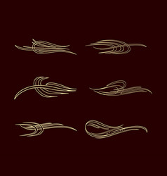 Pinstriping stripe america style collection set vector