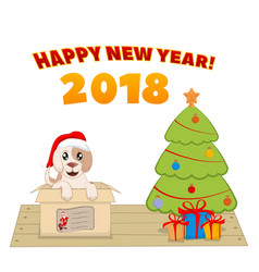 puppy in a box near a christmas tree vector image