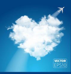 Realistic cloud heart on beautiful blue sky vector