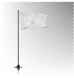 realistic white flag on steel pole on background vector image