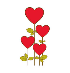 red heart balloons trees icon vector image