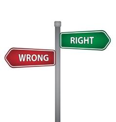Right wrong pillar vector
