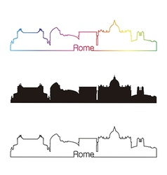 Rome skyline linear style with rainbow vector