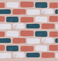 scratched brick wall seamless pattern vector image