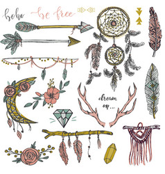 set hand drawn decor elements in boho style vector image