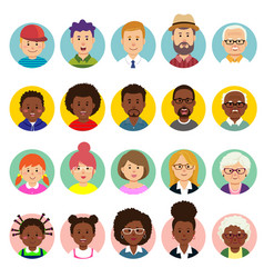Set human faces avatars people heads vector