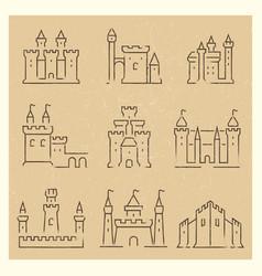 set medieval castles line icos vector image