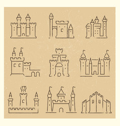 Set of medieval castles line icos vector