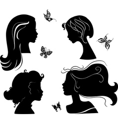 set of silhouettes girls vector image