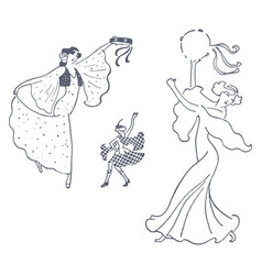 Set of woman dancing vector