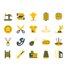 sewing simple color flat icons set vector image