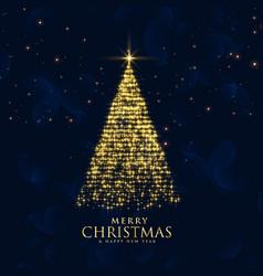 Shiny glitter sparkles creative christmas tree vector