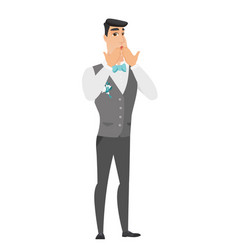 Shoked caucasian groom covering his mouth vector