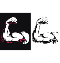 Silhouette arm bicep muscle flexing bodybuilding vector