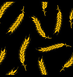 simple gold ears of wheat on black vector image
